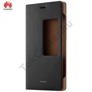 Huawei P8 Tok álló, bőr (FLIP, oldalra nyíló, S-View Cover) FEKETE