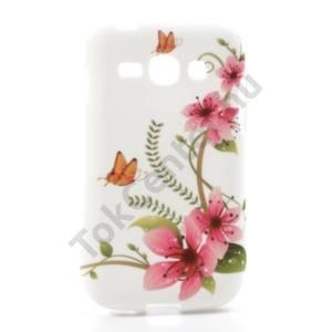 Samsung Galaxy Ace 3 3G (GT-S7270) Telefonvédő gumi / szilikon (pillangó, virágmintás) FEHÉR