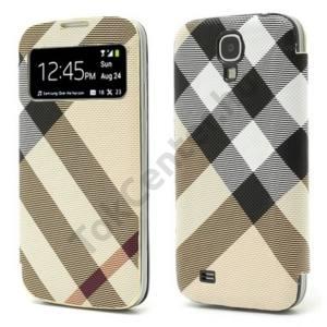 Samsung Galaxy S IV. (GT-I9500) Tok álló, bőr (akkufedél, oldalra nyíló, hívókijelzés, és felvételhez kivágás, kockás) Flip, BARNA