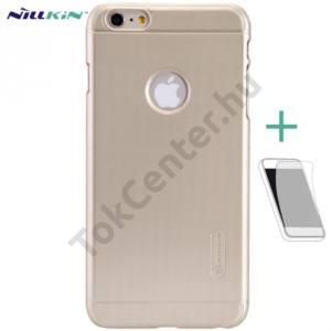 Apple iPhone 6 Plus 5.5`` NILLKIN SUPER FROSTED műanyag telefonvédő (gumírozott, érdes felület, képernyővédő fólia, tisztítókendő) ARANY