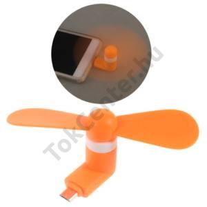 Hordozható ventillátor (mobiltelefonhoz csatlakoztatható, microUSB) NARANCS