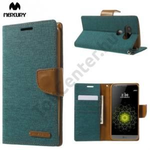 LG G5 (H850) MERCURY Canvas Diary tok álló (FLIP, mágneses, oldalra nyíló, asztali tartó funkció, textil hatás) ZÖLD