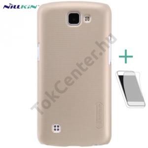 LG K4 (K120e) NILLKIN SUPER FROSTED műanyag telefonvédő (gumírozott, érdes felület, képernyővédő fólia, tisztítókendő) ARANY
