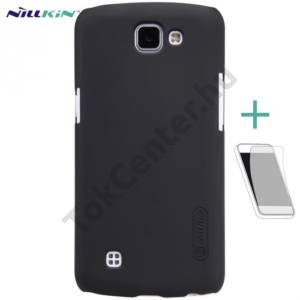 LG K4 (K120e) NILLKIN SUPER FROSTED műanyag telefonvédő (gumírozott, érdes felület, képernyővédő fólia, tisztítókendő) FEKETE