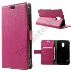 Samsung Galaxy S V. Active (SM-G870) Tok álló, bőr (FLIP, mágneses, oldalra nyíló, bankkártya  tartó, asztali tartó funkció) MAGENTA