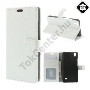 Huawei Ascend G620s Tok álló, valódi bőr (FLIP, mágneses, oldalra nyíló, bankkártya tartó, fényképtartó, asztali tartó funkció) FEHÉR