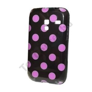 Samsung Galaxy Ace Plus (GT-S7500) Telefonvédő gumi / szilikon (rózsaszín pöttyös) FEKETE