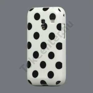 Samsung Galaxy Ace Plus (GT-S7500) Telefonvédő gumi / szilikon (fekete pöttyös) FEHÉR