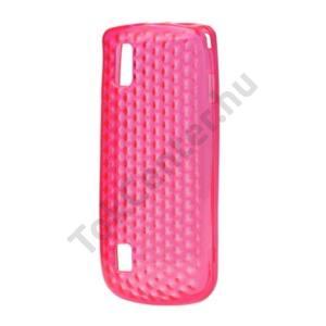 Nokia 300 Asha Telefonvédő gumi / szilikon (gyémánmintás) RÓZSASZÍN