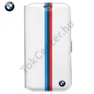 Samsung Galaxy S7 (SM-G930) BMW TRICOLOR STRIPE tok álló, bőr (FLIP, oldalra nyíló) FEHÉR