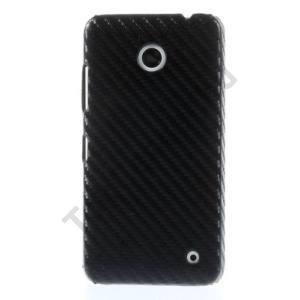 Nokia Lumia 630 Műanyag telefonvédő (karbon minta) FEKETE