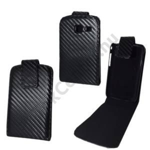 Samsung Galaxy Y Duos (GT-S6102) Tok álló, bőr (FLIP, mágneses, karbon minta) FEKETE