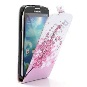 Samsung Galaxy S IV. (GT-I9500) Tok álló, bőr (FLIP, mágneses, virág mintás) FEHÉR