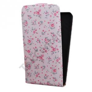 Sony Xperia E4 (E2105) Tok álló, bőr (FLIP, virágminta) RÓZSASZÍN