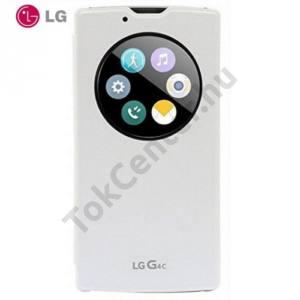 LG G4c (H525n) Műanyag telefonvédő (bőr flip, hívószámkijelzés, és hívás felvételhez kivágás, QuickWindow) FEHÉR