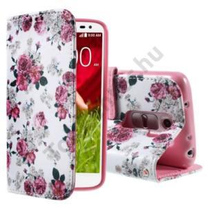LG G2 mini (D620) Tok álló, bőr (FLIP, oldalra nyíló, asztali tartó funkció, bazsarózsa minta) FEHÉR