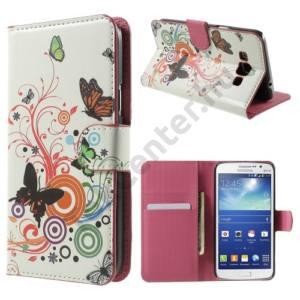 Samsung Galaxy Grand 3 (SM-G7200) Tok álló, bőr (FLIP, oldalra nyíló, asztali tartó funkció, pillangó, körminta) FEHÉR