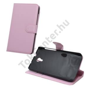 Alcatel Idol 2S (OT-6050) Tok álló, bőr (FLIP, mágneses, oldalra nyíló, bankkártya  tartó, asztali tartó funkció) RÓZSASZÍN