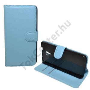 Alcatel Idol 2S (OT-6050) Tok álló, bőr (FLIP, mágneses, oldalra nyíló, bankkártya  tartó, asztali tartó funkció) VILÁGOSKÉK