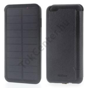 Apple iPhone 6 Plus 5.5`` Műanyag telefonvédő (FLIP, bőrhátlap, napelemes vésztöltő, beépített 4200 mAh LI-Ion akku) FEKETE