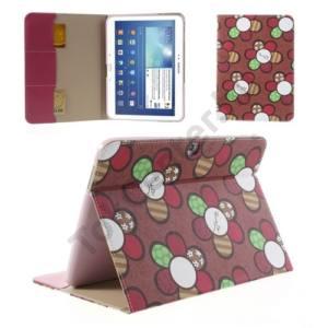 Samsung Galaxy Tab3 10.1 (P5200) Tok álló, bőr (FLIP, oldalra nyíló, bankkártya tartó, asztali tartó funkció, virágminta) PIROS