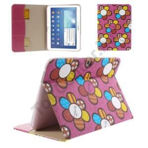 Samsung Galaxy Tab3 10.1 (P5200) Tok álló, bőr (FLIP, oldalra nyíló, bankkártya tartó, asztali tartó funkció, virágminta) RÓZSASZÍN