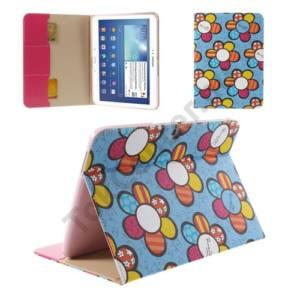 Samsung Galaxy Tab3 10.1 (P5200) Tok álló, bőr (FLIP, oldalra nyíló, bankkártya tartó, asztali tartó funkció, virágminta) VILÁGOSKÉK