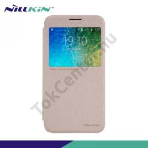 Samsung Galaxy E5 (SM-E500) NILLKIN SPARKLE műanyag telefonvédő (mikroszálas bőr flip, oldalra nyíló, hívószámkijelzés, S-View Cover) ARANY