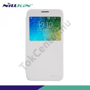 Samsung Galaxy E5 (SM-E500) NILLKIN SPARKLE műanyag telefonvédő (mikroszálas bőr flip, oldalra nyíló, hívószámkijelzés, S-View Cover) FEHÉR