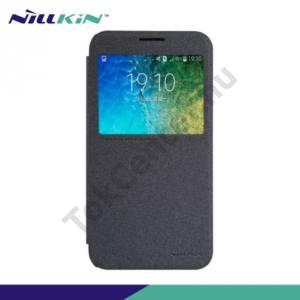 Samsung Galaxy E5 (SM-E500) NILLKIN SPARKLE műanyag telefonvédő (mikroszálas bőr flip, oldalra nyíló, hívószámkijelzés, View Window) FEKETE