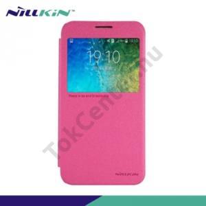 Samsung Galaxy E5 (SM-E500) NILLKIN SPARKLE műanyag telefonvédő (mikroszálas bőr flip, oldalra nyíló, hívószámkijelzés, S-View Cover) RÓZSASZÍN