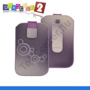 DEKOCASE 2 tok álló (körmintás, kihúzható tépőzár, övre fűzhető, iPhone 5 méret) LILA/FEHÉR