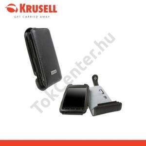 HTC Incredible S (S710e) KRUSELL ORBIT FLEX álló bőrtok (övcsipesz) FEKETE/SZÜRKE