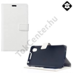 Alcatel Idol 4 / Blackberry DTEK50 Tok álló,valódi bőr (FLIP, oldalra nyíló, asztali tartó funkció) FEHÉR