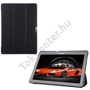 Lenovo Tab3 10 Tok álló, bőr (FLIP,  oldalra nyíló, TRIFOLD asztali tartó funkció) FEKETE