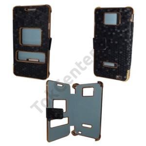 Samsung Galaxy S II. (GT-I9100) Tok álló, bőr (FLIP, mágneses, oldalra nyíló, méhsejt minta) FEKETE