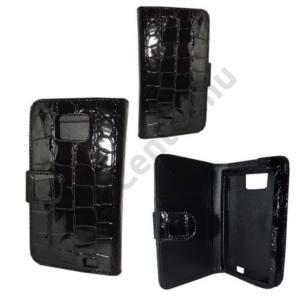 Samsung Galaxy S II. (GT-I9100) Tok álló (FLIP,mágneses, oldalra nyíló, bankkártya tartó, krokodilbőr minta) FEKETE