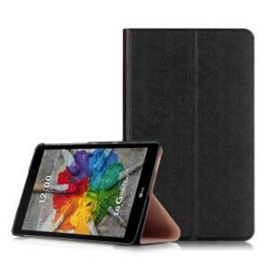 Univerzális Tok álló, valódi bőr (FLIP, oldalra nyíló, asztali tartó funkció) FEKETE LG G Pad III 8.0