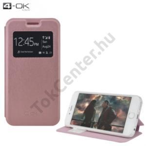 Samsung Galaxy S7 (SM-G930) 4-OK tok álló, bőr (FLIP, oldalra nyíló, asztali tartó funkció, hívószámkijelzés, S-View Cover) ROZÉARANY