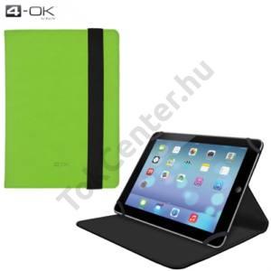 4-OK tok UNIV álló, bőr (oldalra nyíló, asztali tartó funkció, 8'', gumi rögzítés) ZÖLD/FEKETE