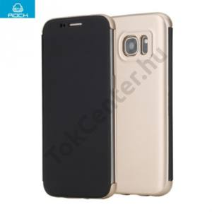 Samsung Galaxy S7 (SM-G930) ROCK DR.V műanyag telefonvédő (FLIP, oldalra nyíló, Invisible View cover) ARANY