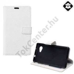 Sony Xperia E5 (F3311) Tok álló,valódi bőr (FLIP, oldalra nyíló, asztali tartó funkció) FEHÉR