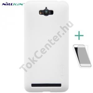 Asus Zenfone Max (ZC550KL) NILLKIN SUPER FROSTED műanyag telefonvédő (gumírozott, érdes felület, képernyővédő fólia, tisztítókendő) FEHÉR