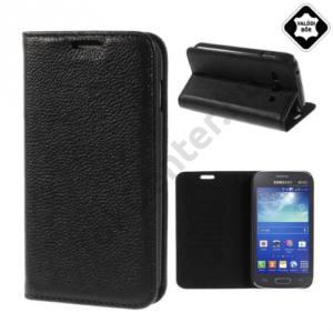 Samsung Galaxy Ace 3 3G (GT-S7270) Tok álló, valódi bőr (FLIP, oldalra nyíló, asztali tartó funkció) FEKETE