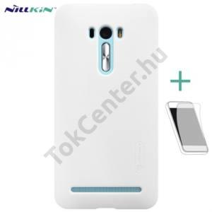 Asus Zenfone Selfie (ZD551KL) NILLKIN SUPER FROSTED műanyag telefonvédő (gumírozott, érdes felület, képernyővédő fólia, tisztítókendő) FEHÉR