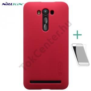 Asus Zenfone 2 Laser (ZE550KL) NILLKIN SUPER FROSTED műanyag telefonvédő (gumírozott, érdes felület, képernyővédő fólia, tisztítókendő) PIROS