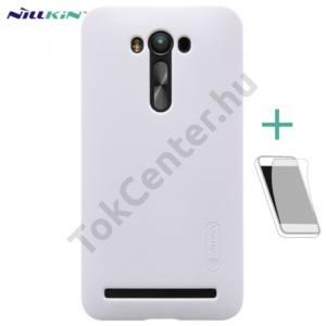 Asus Zenfone 2 Laser (ZE550KL) NILLKIN SUPER FROSTED műanyag telefonvédő (gumírozott, érdes felület, képernyővédő fólia, tisztítókendő) FEHÉR