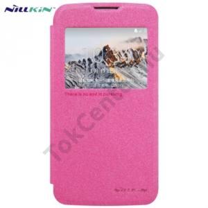 LG K4 (K120e) NILLKIN SPARKLE műanyag telefonvédő (mikroszálas bőr flip, oldalra nyíló, hívószámkijelzés, View Window) MAGENTA