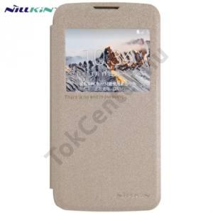 LG K4 (K120e) NILLKIN SPARKLE műanyag telefonvédő (mikroszálas bőr flip, oldalra nyíló, hívószámkijelzés, View Window) ARANY