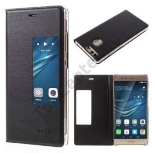 Huawei P9 Tok álló, bőr (FLIP, oldalra nyíló, S-View Cover) FEKETE
